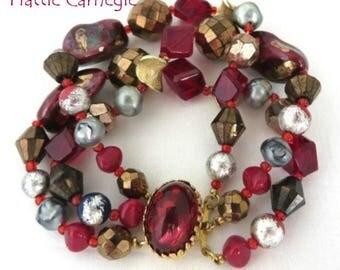 Hattie Carnegie Vintage Bracelet - Art Glass Triple Strand Beaded Designer Bracelet, Holiday Gift, FREE SHIPPING