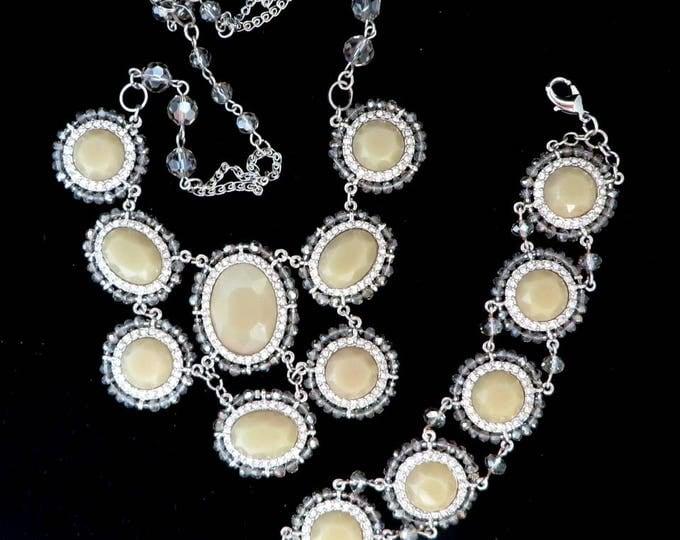White House Black Market Necklace, Bracelet, Vintage Glass, Rhinestone Demi Parure, Cream Beaded Jewelry Set, Bridal Jewelry