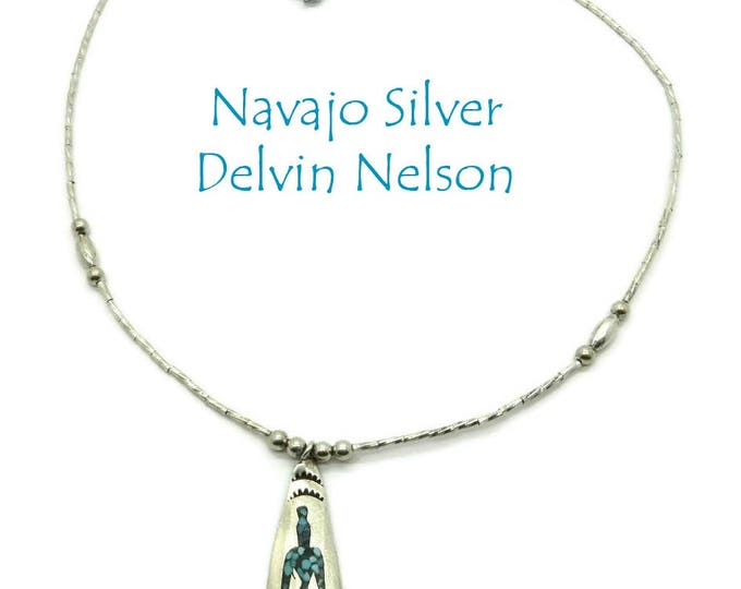 Navajo Silver Pendant Necklace |  Vintage Signed Delvin Nelson Jewelry | Turquoise Coral Chip Inlay Pendant Necklace