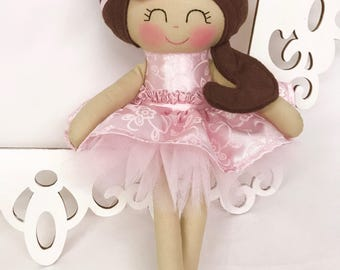 Handmade Doll- Pink- Fabric Doll