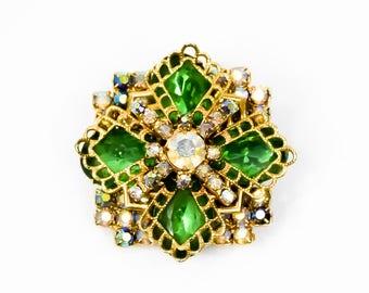 Rhinestone Brooch - Geometric Brooch - Green Brooch - Vintage Brooch - Gift for her- Mom Gift- Fashionista Gift