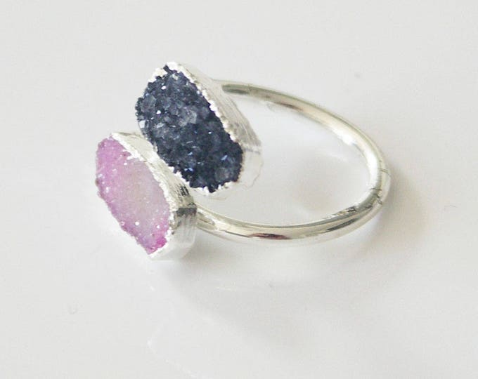 ring with double druze stones - 2 colors