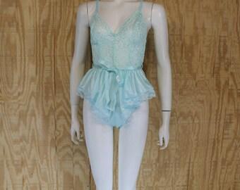 Vintage 1980's ALANA GALE Mint Green Stretch Lace Skirted Babydoll Romper Teddy Medium