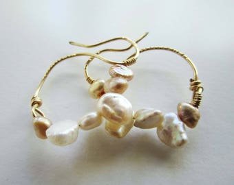 Pearl and Gold Earrings, Ancient Style, Roman Style, Handmade Pearl and Gold,  Earrings, 'Swan' Earring, Freshwater Pearl and Gold Earrings