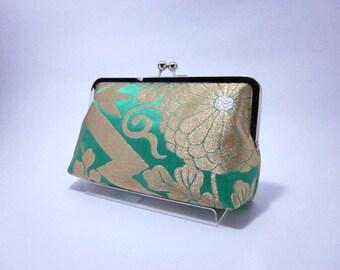 lime Green purse / Obi bag/ Obi Purse / Vintage Kimono obi bag / Hand made/11