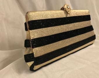 Gold Clutch with Black Stripes