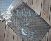 Fishing -Personalized Minky Baby Blanket -Silver Minky/ Baby Blue Minky - Embroidered Marlin Fish