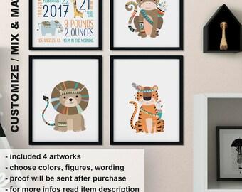 Tribal animals Birth Announcement, Safari animals baby wall art, Boho Baby animal nursery art, Jungle animals Birth Wall Art Print/Canvas