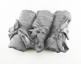 Dove - Grey Charmeuse Satin Robe with lace trim-Bride Bridesmaid Flowergirl -Monogrammable- regular, plus and children's sizes