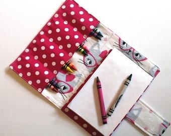 Crayon Holder - Kids Coloring - Travel Toy - Cat Crayon Case - Coloring - Kids Coloring - Children's Gift - Party Favor