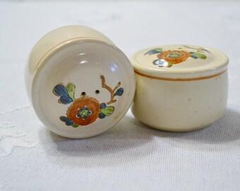 Vintage Metlox Old Cathay Salt Pepper Shaker Set Vernon Ware Floral Retro Kitchenware Asian Theme California Pottery PanchosPorch