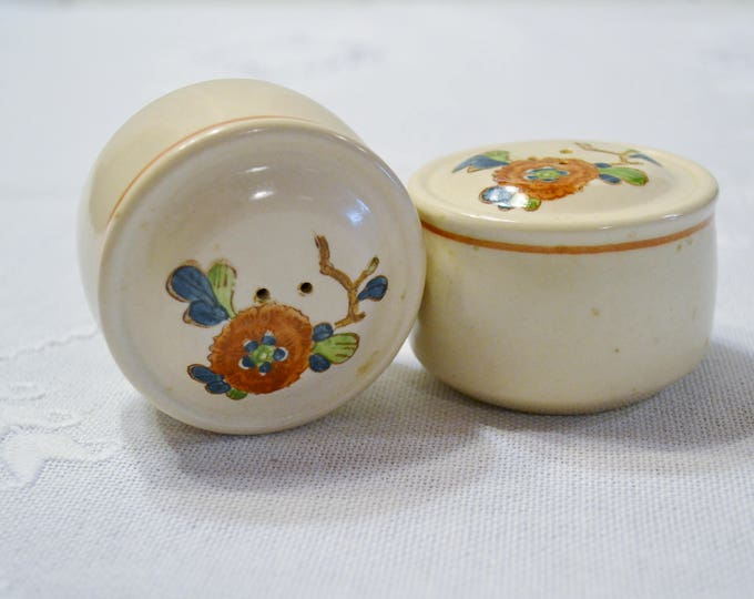 Vintage Metlox Old Cathay Salt Pepper Shaker Set Vernon Ware Floral Retro Kitchenware Asian Theme California Pottery PanchosPorch