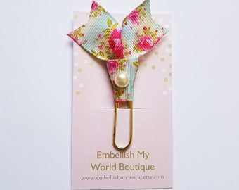 Shabby Chic Planner Clip/Paper Clip/Journal Clip/ Agenda Clip/Back to School/Office/Floral Planner Clip/Teacher Gift/Page Marker/Bookmark