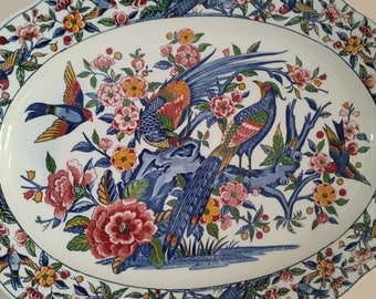 Very Large Oval Serving Plate Decorated with Exotic Birds and Blossoms, Marked Japan.