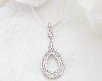 Pave CZ Teardrop Necklace, Cubic Zirconia Tear Drop Pendant, Statement Wedding Accessory, LUX Diamond Crystal Silver Bridal Necklace, N2015