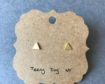 Gold Matte Brushed Tiny Triangle Stud Earrings - Gold plated over Sterling Silver [GME1013]