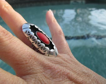 Native American Coral and Sterling Silver Shadowbox Ring Size 7.5