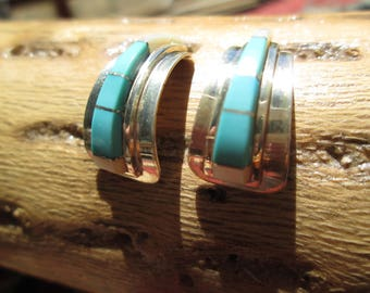 Turquoise, Mother of Pearl and Sterling Inlay Half Hoop Earrings