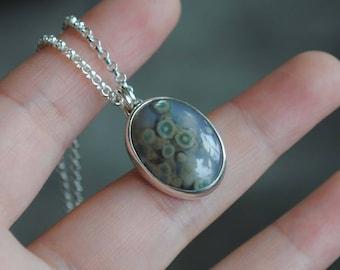 Sterling Silver Ocean Jasper Necklace, Ocean Jasper Jewelry