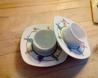 Vintage Permaware Plastic Childs Egg Cups 1970 Bunnies And Bears