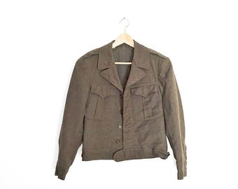 Vintage Ike Military Jacket - 40s World War II Eisenhower Army Green Wool Jacket - Size 36 Short - Mens Size Small - Womens Medium Large
