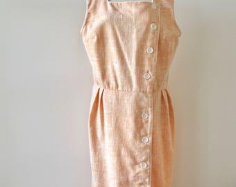 80s peach white dress. Pastel orange day dress. Apricot avant garde dress. Soft orange wiggle dress. Summer dress. Size L - XL