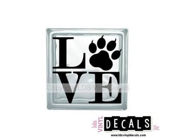 LOVE (Claw) - Family and Pet Vinyl Lettering for Glass Blocks - Animal Craft Decals