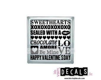 Sweethearts XOXOXOXOXOXO Sealed With A CHOCOLATE LOVE Amore Be Mine Happy Valentine's Day  - Vinyl Lettering for Glass Blocks - Craft Decals
