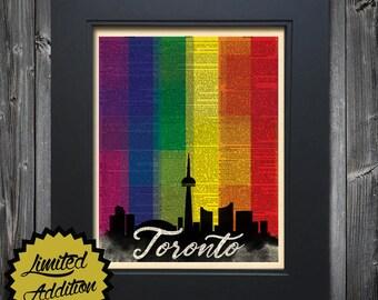 Toronto Gay Pride LGBT art print on Upcycled vintage Dictionary page