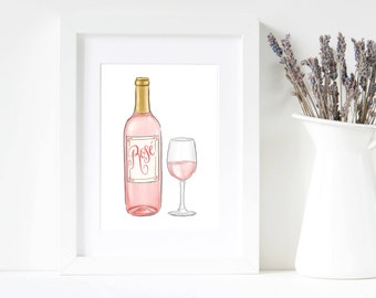 Rose, Wine, Bar Cart, Art Print, Wall Art