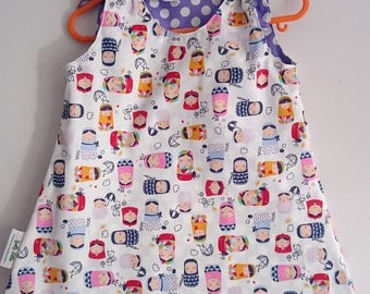SALE Girls Reversible Dress. Russian Doll Print. Ages 6 Months to 5 Years.