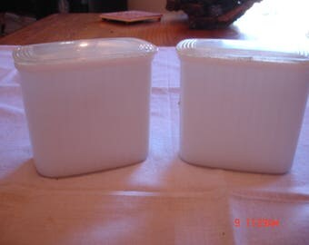 Hazel Atlas Milk Glass Refrigertor Containers, 12 oz., Pair