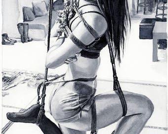 "Mature Content, Signed Giclée Art Print by Vanessa Walsh, ""Suspention"", Kink Art Print, Rope Art Erotic Art Print, Black and White Art"