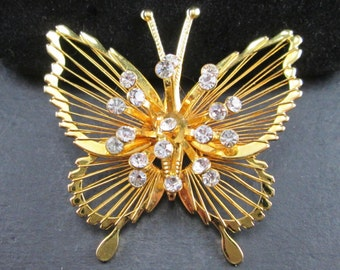 Vintage Butterfly Brooch Pin by Monet Gold Tone with Rhinestones Wire Work Wings Signed