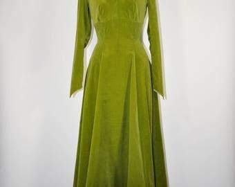 50s green velvet dress / 1950s midi evening dress / vintage full skirted dress