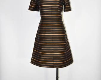 60s copper stripes dress / 1960s silk shift dress / vintage metallic dress