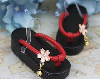 BJD Japanese Geta traditional footwear sandals Flip Flops black red pink with sakura decoration and bells  SD 1/3 SD13 1/4 msd