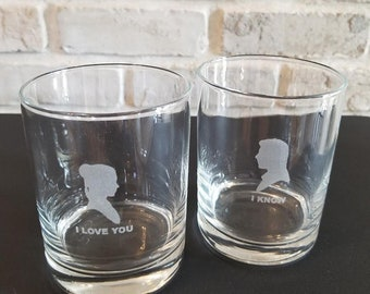 Set of 2 Star Wars or Godfather Inspired Rocks Glasses; Can Be Personalized; For Weddings, Anniversaries, Special Occasions, etc