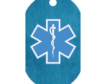 Custom Medical Alert Necklace in Soft Blended Turquoise | Medic Tag | Medical Alert ID | Medical Alert Jewelry | Front and Back Included