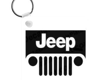 This Girl Loves Her JEEP Key Chain | 2.25 in Square | Gift for Her | Girlfriend Gift | Gift for Daughter or Mom | Your Name on the Backside