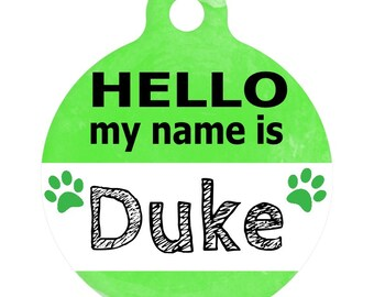 Personalized Round Pet ID Tag-In Bright Green | Custom Pet ID Tag | Dog Collar Name Tag | Double Sided | HELLO my name is