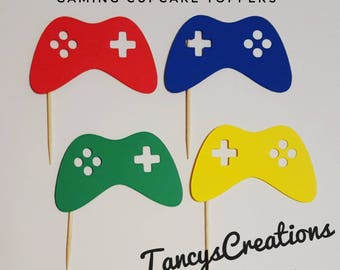 Gamer Cupcake Toppers! Game control! Gaming Birthday Party! Cupcake Toppers! Primary colors!