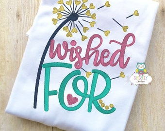Wished For Shirt or Bodysuit, Baby Shower Gift, New Baby Gift, Dandelion Wishes Shirt, Rainbow Baby Shirt, Wish on a Dandelion Shirt