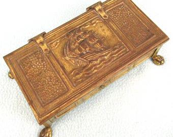 Vintage Cigar Box, Cigarette Box, Peerage England, Brass Box, Treasure Chest, Ship Design, Nautical Theme, Wooden Lined, Paw Feet, Rustic