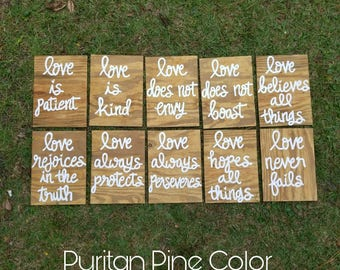 Wedding Aisle Signs, 1 Corinthians 13 Wedding Signs, Love is Patient, Love is Kind, Hand Painted Wood Wedding Signage