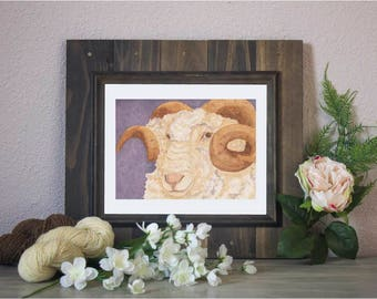 "Watercolor Art Print ""Merino"" - Sheep"
