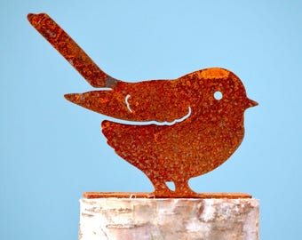 Fat Chickadee Steel Silhouette with Rusty Patina   Rusty Metal Yard Art   Metal Bird Silhouette   Rusty Birds by Elegant Garden Design.
