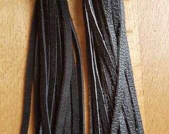 Long Black Leather or Black SuedeTassel Keychain Fob Handbag Accessory