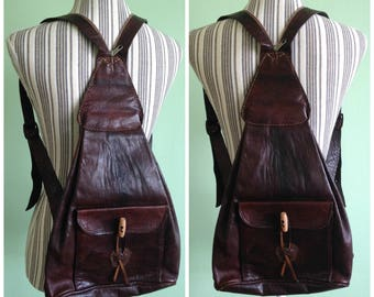 Brown Leather Backpack, Distressed Leather Rucksack, Vintage Knapsack, Boho Chic Backpack, Unistrap Backpack, Hippie Backpack, Bohemian Bag