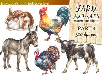 Farm Animals Clipart, Digital Watercolor Illustration, Animal Clip Art, Hand-painted, Realistic Animal Stock Illustration, Commercial use